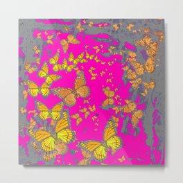 FUCHSIA PINK & GREY BUTTERFLY ABSTRACT ART Metal Print