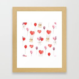 love in the air  watercolor pattern wit hearts, balloons Framed Art Print