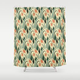 a lot of flowers for art deco green Shower Curtain
