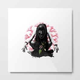Passion flower mask collage Metal Print