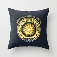 pacific rim Throw Pillows featuring Pacific Rim Defense Academy by fishbiscuit