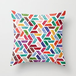 Seamless Colorful Geometric Pattern VIII Throw Pillow