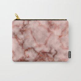 Pink and Copper Rose Veined Faux Marble Repeat Carry-All Pouch