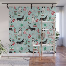 Siberian Husky christmas festive holiday gifts for husky owners by pet friendly Wall Mural