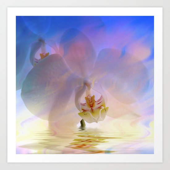 Orchid in a bath 1 - Flower and Flowers on #Society6 Art Print