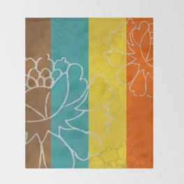 Chinese Flowers & Stripes - Orange Yellow Turquoise Brown Throw Blanket