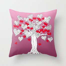 tree of love with hearts Throw Pillow