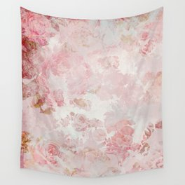 Vintage Floral Rose Roses painterly pattern in pink Wall Tapestry