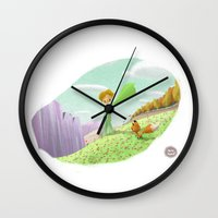 the little prince Wall Clocks featuring LITTLE PRINCE by David Pavon