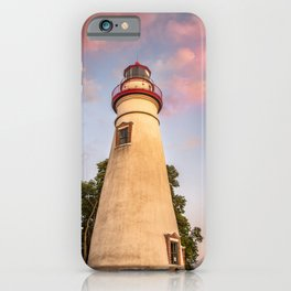 Marblehead Lighthouse at Sunset From the Shore Landscape Photograph iPhone Case