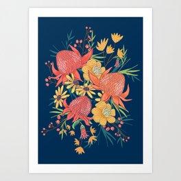 Australian Florals on Blue Art Print