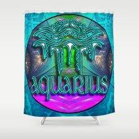 zodiac Shower Curtains featuring Aquarius Zodiac by CAP Artwork & Design