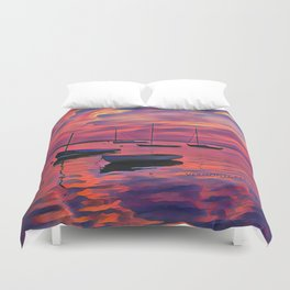 Sunset on the Mooring Field Boats Duvet Cover
