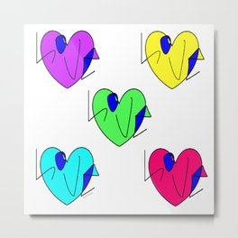 Neon Hearts with Love Rasha Stokes Metal Print