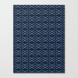 Woven Ribbon Indigo Criss Cross Lines Canvas Print