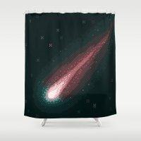 8bit Shower Curtains featuring Comet ISON (8bit) by Sarajea