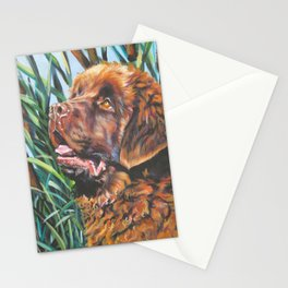 brown Newfoundland dog portrait art from an original painting by L.A.Shepard Stationery Cards