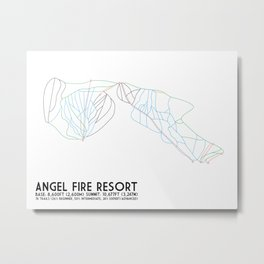 Angel Fire, NM - Minimalist Trail Maps Metal Print