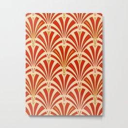 Art Deco Fan Pattern, Mandarin Orange Metal Print