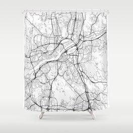 Gothenburg Map White Shower Curtain