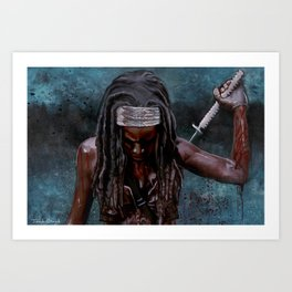Michonne And Her Sword - The Walking Dead Art Print