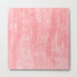 Coral white modern watercolor paint brushstrokes Metal Print