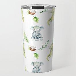 Hand drawn green gray watercolor tropical elephant crocodile pattern Travel Mug