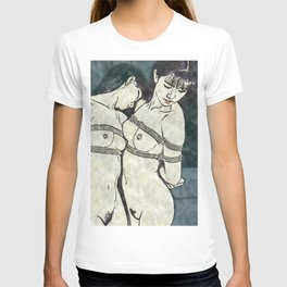Ink and Watercolor - Shibari beauties, sexy slave girls in fetish kinbaku bondage T-shirt