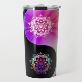 'Yin Yang Blush' Pink Purple Blue Black Travel Mug