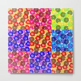 Hippie Floral Patchwork Metal Print