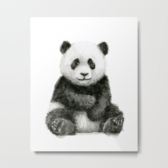 Panda Baby Watercolor Animal Art Metal Print