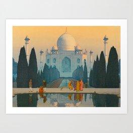 Morning Mist in Taj Mahal Vintage Beautiful Japanese Woodblock Print Hiroshi Yoshida Art Print