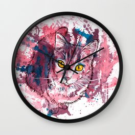 Cat Portrait, pink and purple shades, abstract acrylic painting Wall Clock