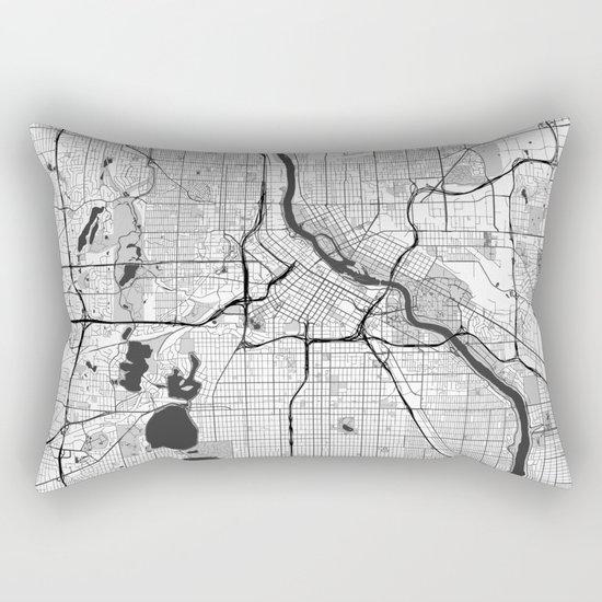 Minneapolis Map Gray Rectangular Pillow