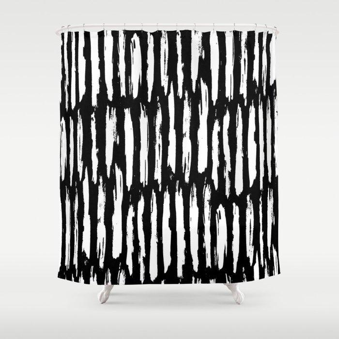 Vertical Dash White On Black Paint Stripes Shower Curtain
