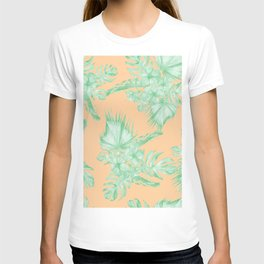 Tropical Monstera Hibiscus Botanical Pattern Green Coral Peach V T-shirt