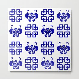 Butterfly Lattice Quilt Blue and White Metal Print