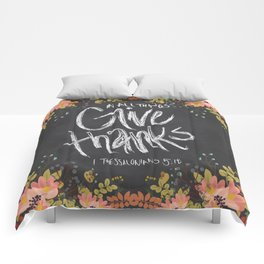Floral Give Thanks   1 Thessalonians 5:18 Comforters
