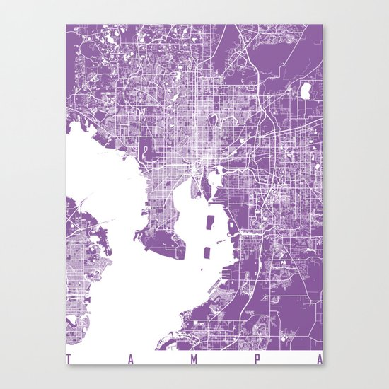 Tampa map florida lilac Canvas Print