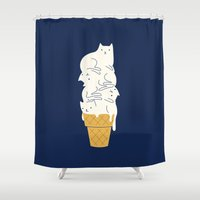 ilovedoodle Shower Curtains featuring Meowlting by I Love Doodle