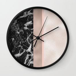 Marble in the night - rose gold Wall Clock