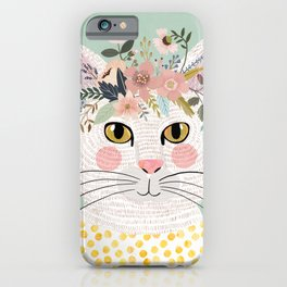 White flowers with floral crown iPhone Case