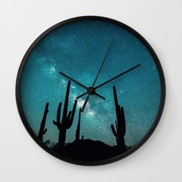 BLUE NIGHT SKY MILKY WAY AND DESERT CACTUS Wall Clock