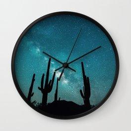 BLUE NIGHT SKY MILKY WAY AND DESERT CACTUS Wall Clock