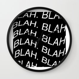"Monochrome ""Blah"" Print Wall Clock"