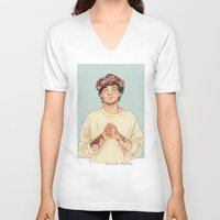 coconutwishes V-neck T-shirts featuring Tommo Flower crown by Coconut Wishes