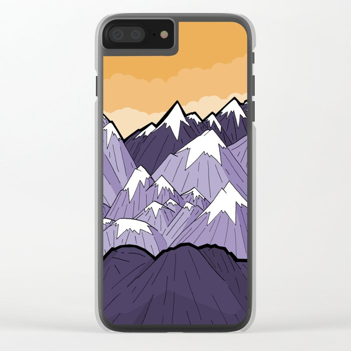 Mountains under the orange sky Clear iPhone Case