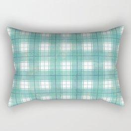 Dark turquoise blue check Rectangular Pillow