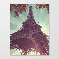 eiffel tower Canvas Prints featuring Eiffel Tower by Rhianna Power