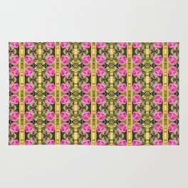 Pink roses with golden stripes pattern Rug